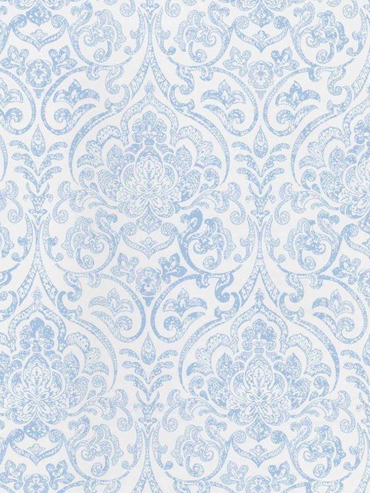Soft Blue Fl Damask Wallpaper By Seabrook Zone