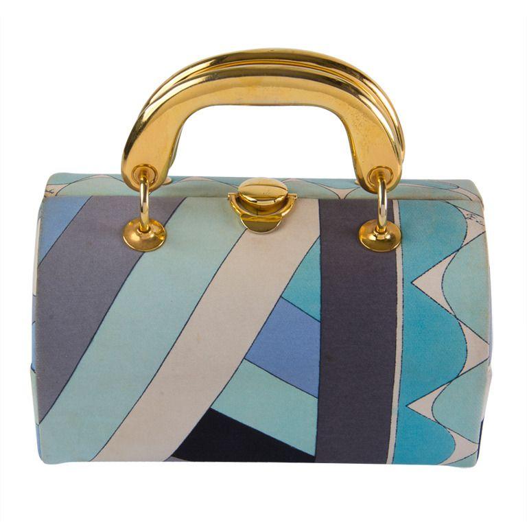 1stdibs.com | Vintage 1960's Emilio Pucci Handbag Grey & Aqua Fabric with Gold Tone Hardware