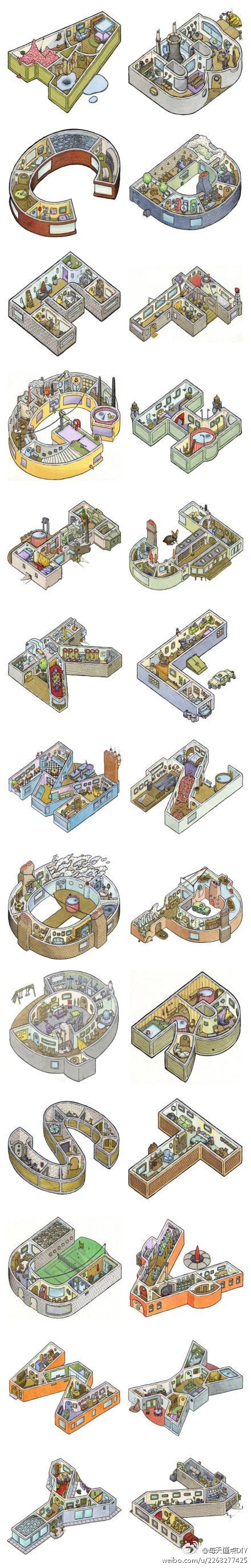 A fanciful 3D alphabet of tiny homes.