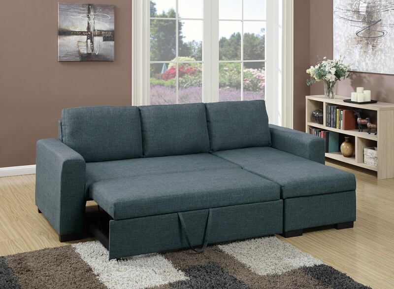 Poundex F6931 2 Pc Everly Blue Grey Polyfiber Fabric Sectional Sofa Set Pull Out Sleep Area Fabric Sectional Sofas Sectional Sleeper Sofa Sectional Sofa Couch