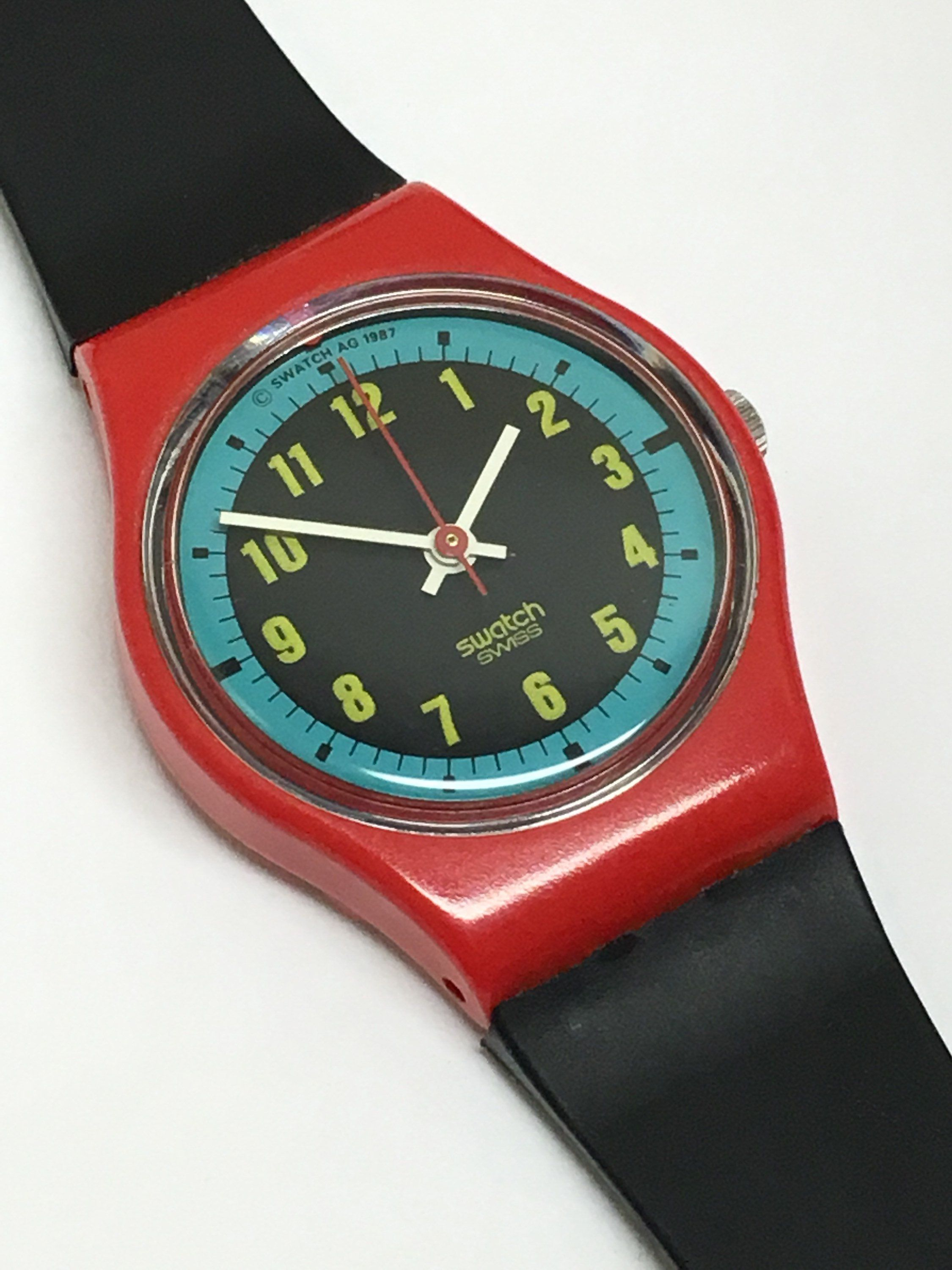 cf2a832cd50e Vintage Ladies Swatch Watch Blue Racer LR107 1987 Red Black Womens Girls  Retro Gift by ThatIsSoFunny on Etsy