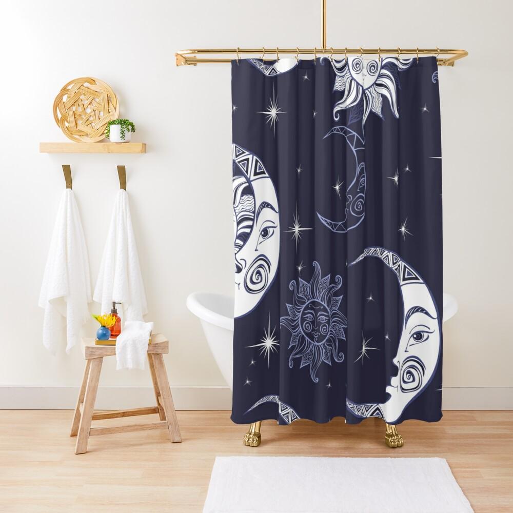 Sun Moon Shower Curtain By Haroulita Shower Curtain Designer Shower Curtains Curtains