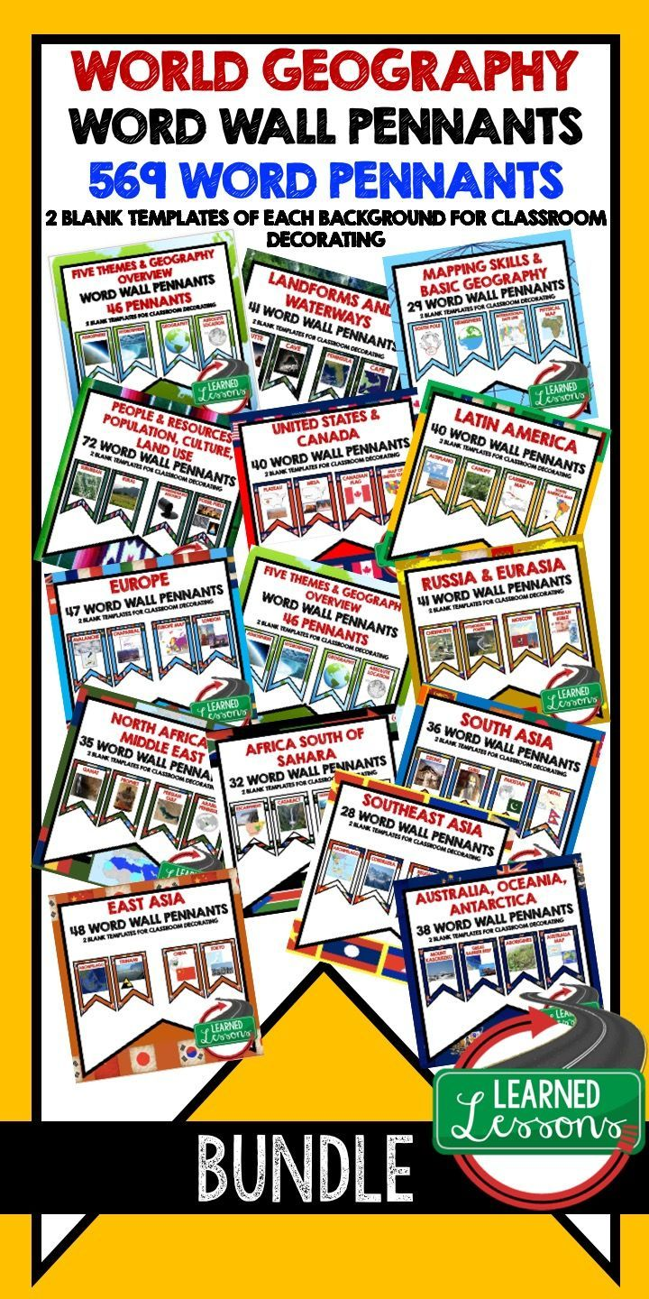 World Geography Word Wall BUNDLE (Over 569 Pennants) World