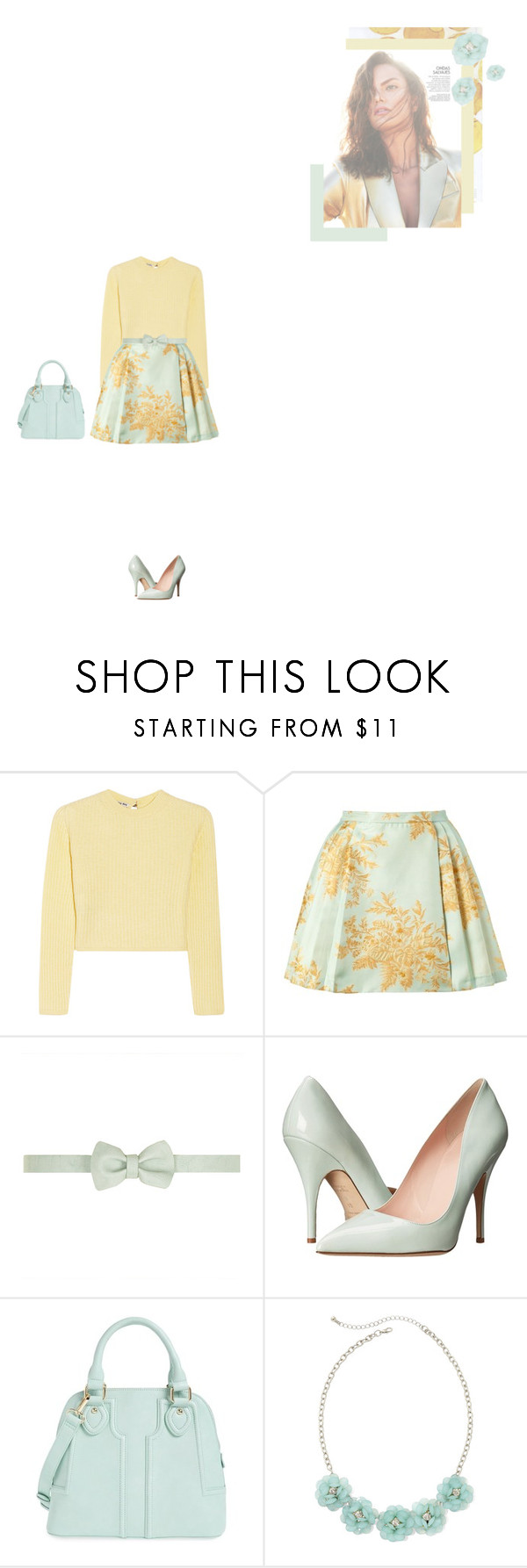"""""""Sunkissed Mint"""" by yuelle ❤ liked on Polyvore featuring Miu Miu, Zimmermann, Dorothy Perkins, Kate Spade, Sole Society and Decree"""
