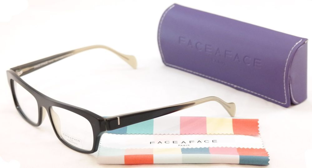 7fd6f556434 Face A Face Eyeglasses Print 3 2070 Black Clear Beige Plastic France Hand  Made  FACEAFACE