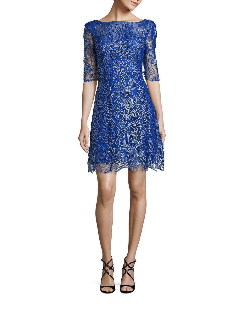 9c895a255cb8f Women's Blue New York Metallic Floral Lace Dress | 25. Apparel ...