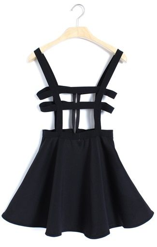 ♡ strap suspender skater skirt ♡  - cute skater skirt with straps around waist & suspenders - material: polyester blend - zipper in the back - color: black  one size: - stretch waist: 60-80 cm - length: 70 cm  - chest: 68-92 cm - hip: 110 cm  ~ please allow 1-3 centimeters difference...