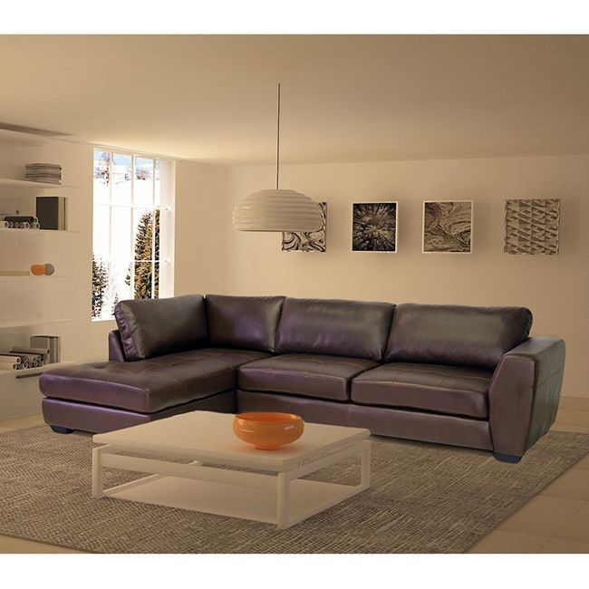Orland Brown Leather Modern Sectional Sofa Set With Left Facing Chaise    Overstock Shopping   Big