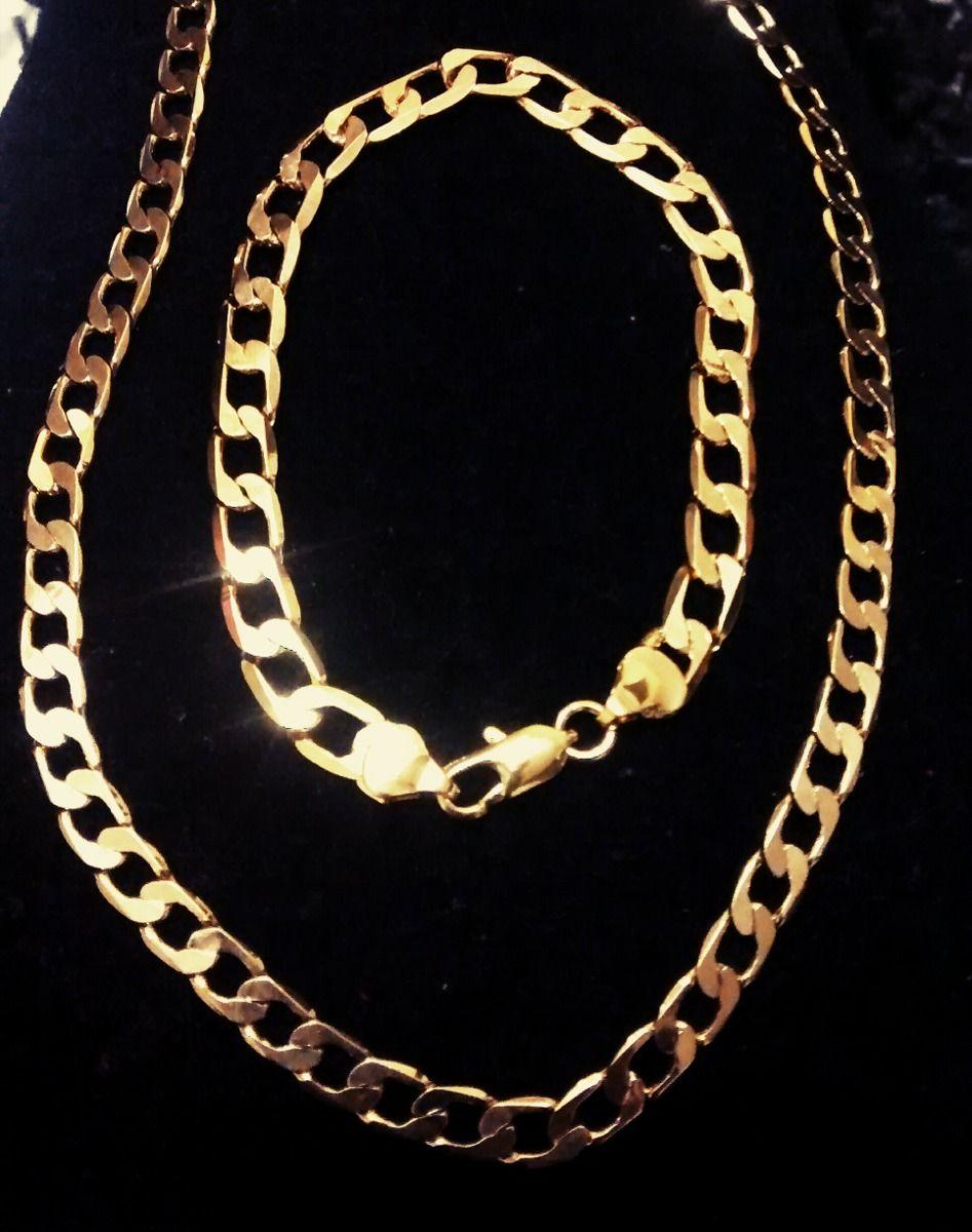 5745ba57265 corrente cordão+pulseira masculino aço inoxidável dourado