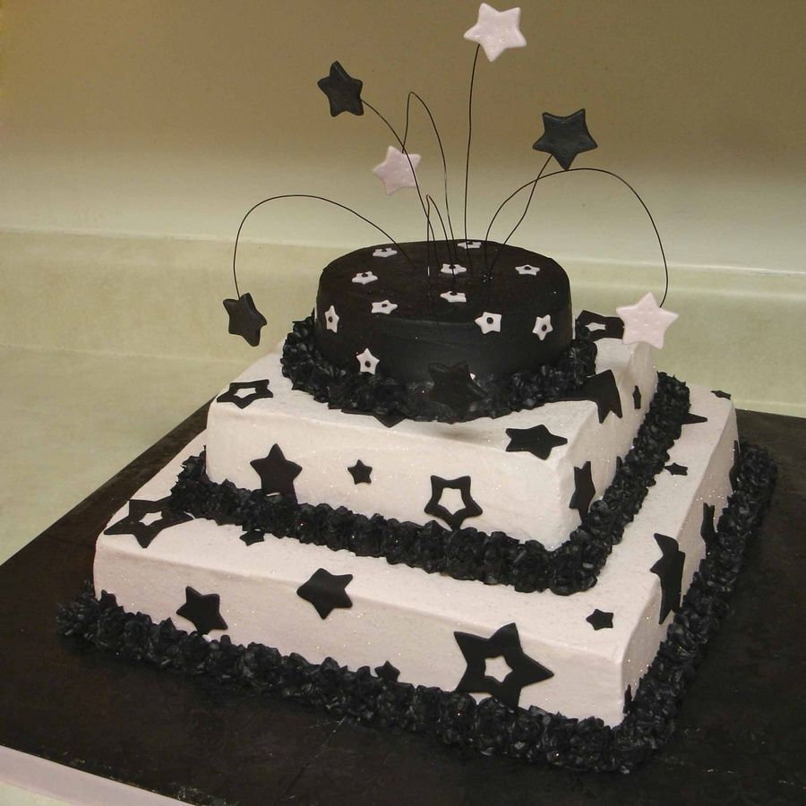 Black N Pink Starz With Images Pretty Birthday Cakes Cake