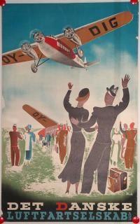 Airline/Aviation Poster: DDL Det Danske Luftfartselskap , Country: Denmark , Artist:
