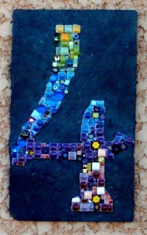 Tableau Mosaique Personnalisé sur commande. numéro de maison, plaque de porte en mosaïque