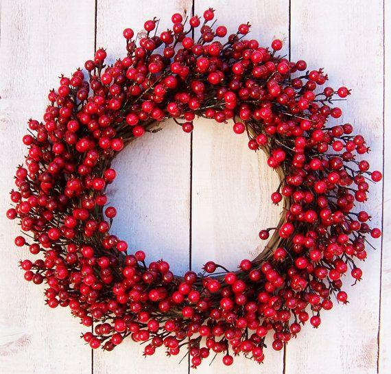 LARGE RUSTIC RED Berry Door Wreath-Winter by DesigningCreations & LARGE RUSTIC RED Berry Door Wreath-Winter by DesigningCreations ...