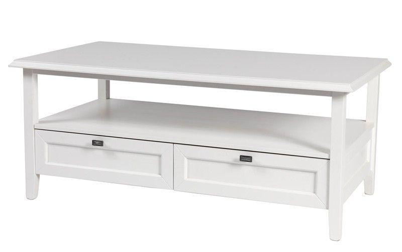 Henrietta+sofabord+-+Flot+hvidt+sofabord+med+to+store+skuffer.+Bordet+er+i+et+diskret+og+klassisk+design,+som+giver+opbevaringsplads+både+på+den+store+flade+under+bordpladen+samt+i+de+to+rummelige+skuffer.