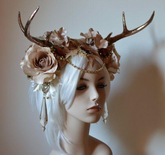 elegant antlers headdress fantasy wedding bridal crown cosplay halloween costume fairytale burning man deer stag nymph