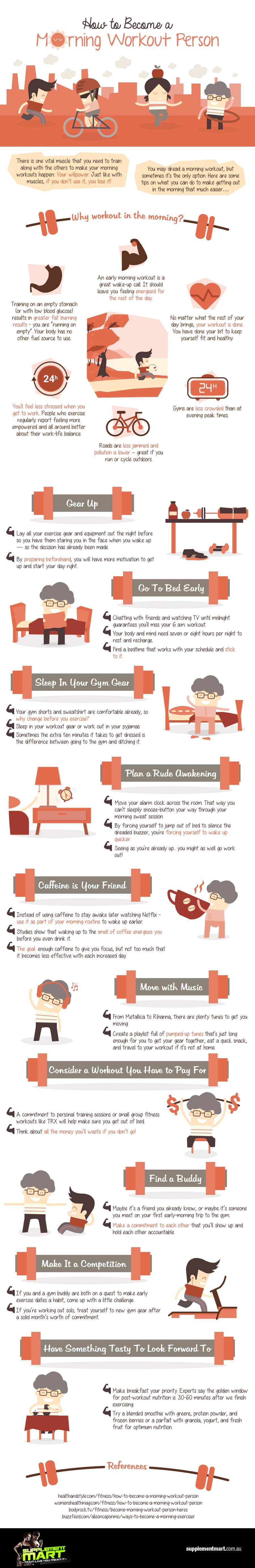How To Become A Morning Workout Person Infographic Morning Workout Effective Workout Plan Effective Workouts