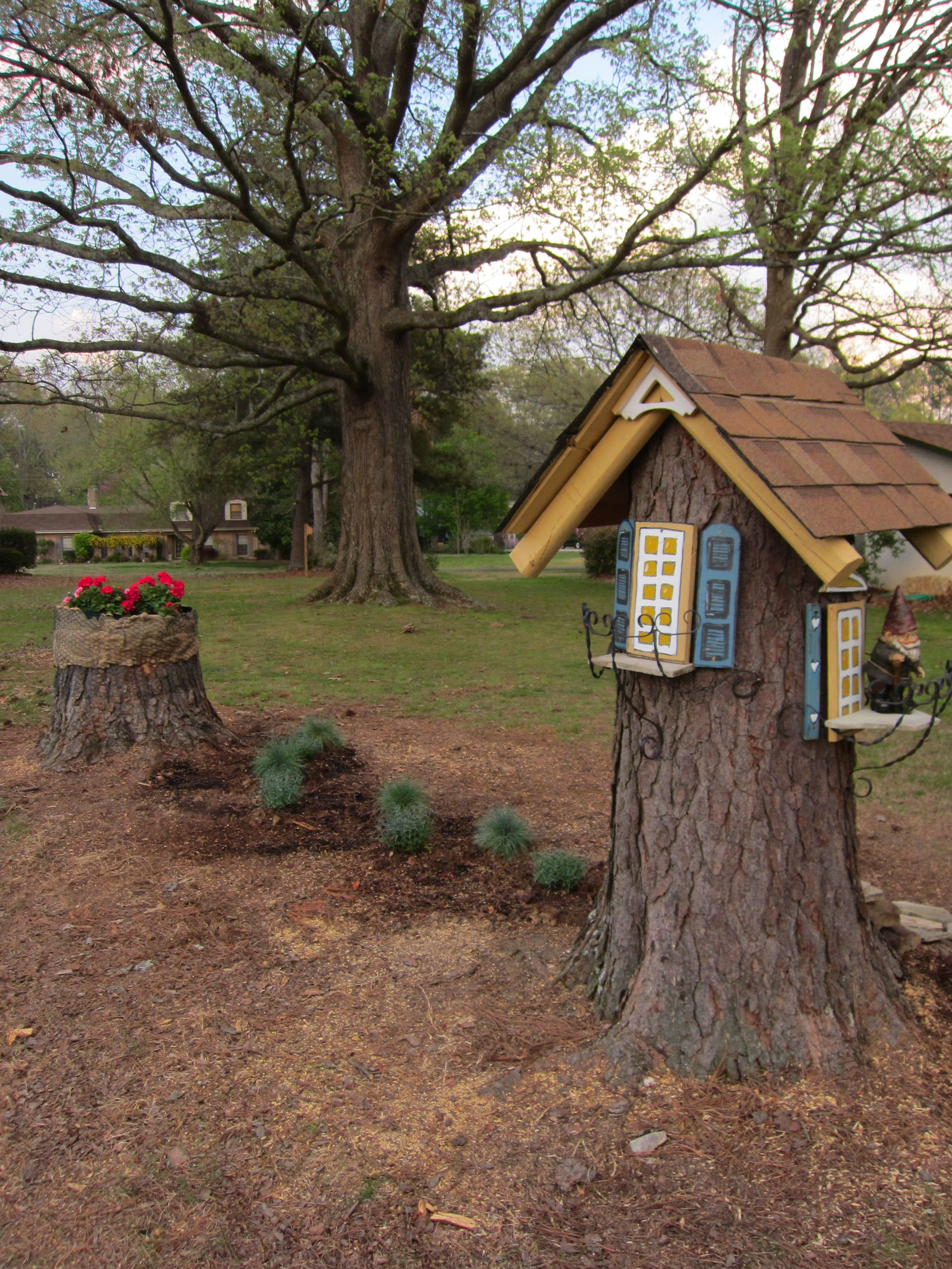 This is my Gnome House built from a pine tree stump. It is about 5 ...