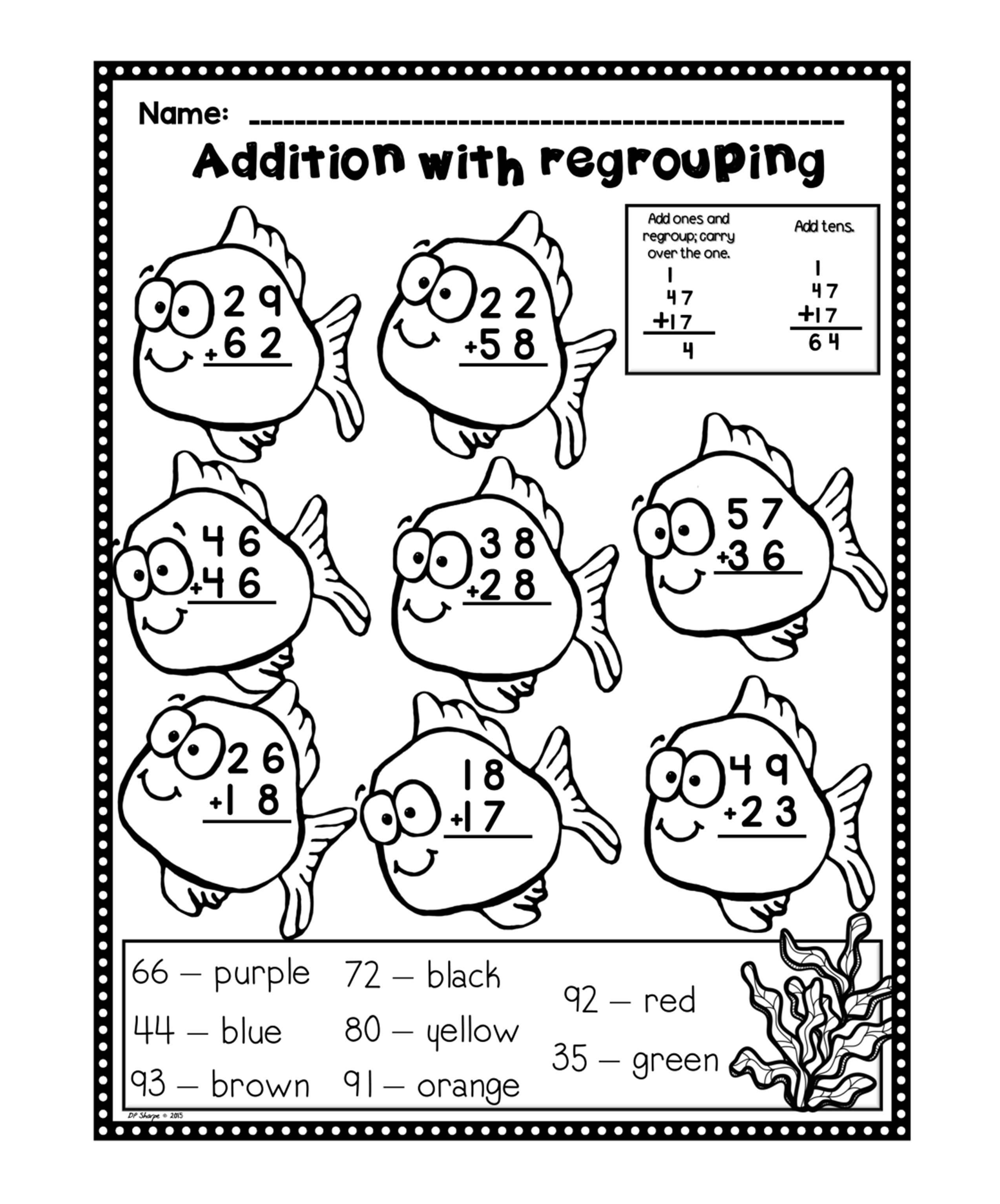 Addition With Regrouping Worksheets Fun Set Addition With Regrouping Worksheets Kindergarten Addition Worksheets Color Worksheets Adding with regrouping grade