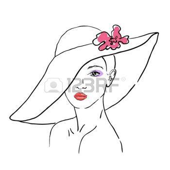 Imagen de http://us.123rf.com/450wm/vip2807/vip28071308/vip2807130800005/21547138-un-bosquejo-de-la-mujer-con-un-sombrero-con-flores.jpg?ver=6