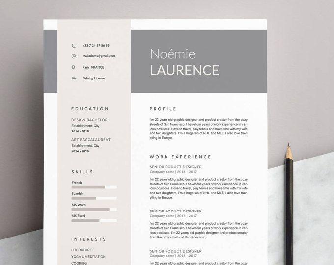 modle de cv nomie moderne lettre de motivation 4 pages pour - Model De Cv En Francais
