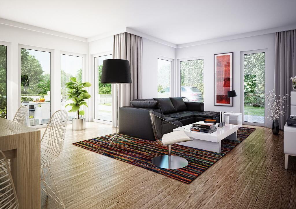 Inneneinrichtung WOHNZIMMER Modern * Haus Edition 1 V7 Bien Zenker *  Einfamilienhaus Grundriss Modern Offen Wohnzimmer