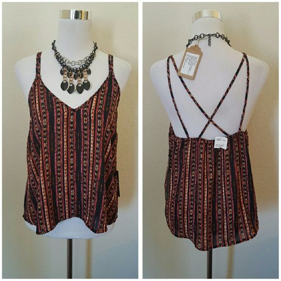 Nwt F21 orange black pattern X back tank top S New with tags Forever 21 Woven top cami Black/ orange / rust Sz S X back straps Forever 21 Tops Tank Tops