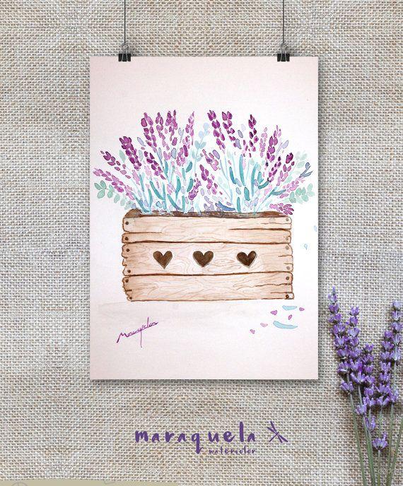 Art Print Box of Lavender Watercolor - Lavender Collection- Art decor, handmade, watercolor, painting, lavande. Lavanda hecha a mano, idea regalo, decoración, regalos para ella, home décor, colección lavanda acuarela.
