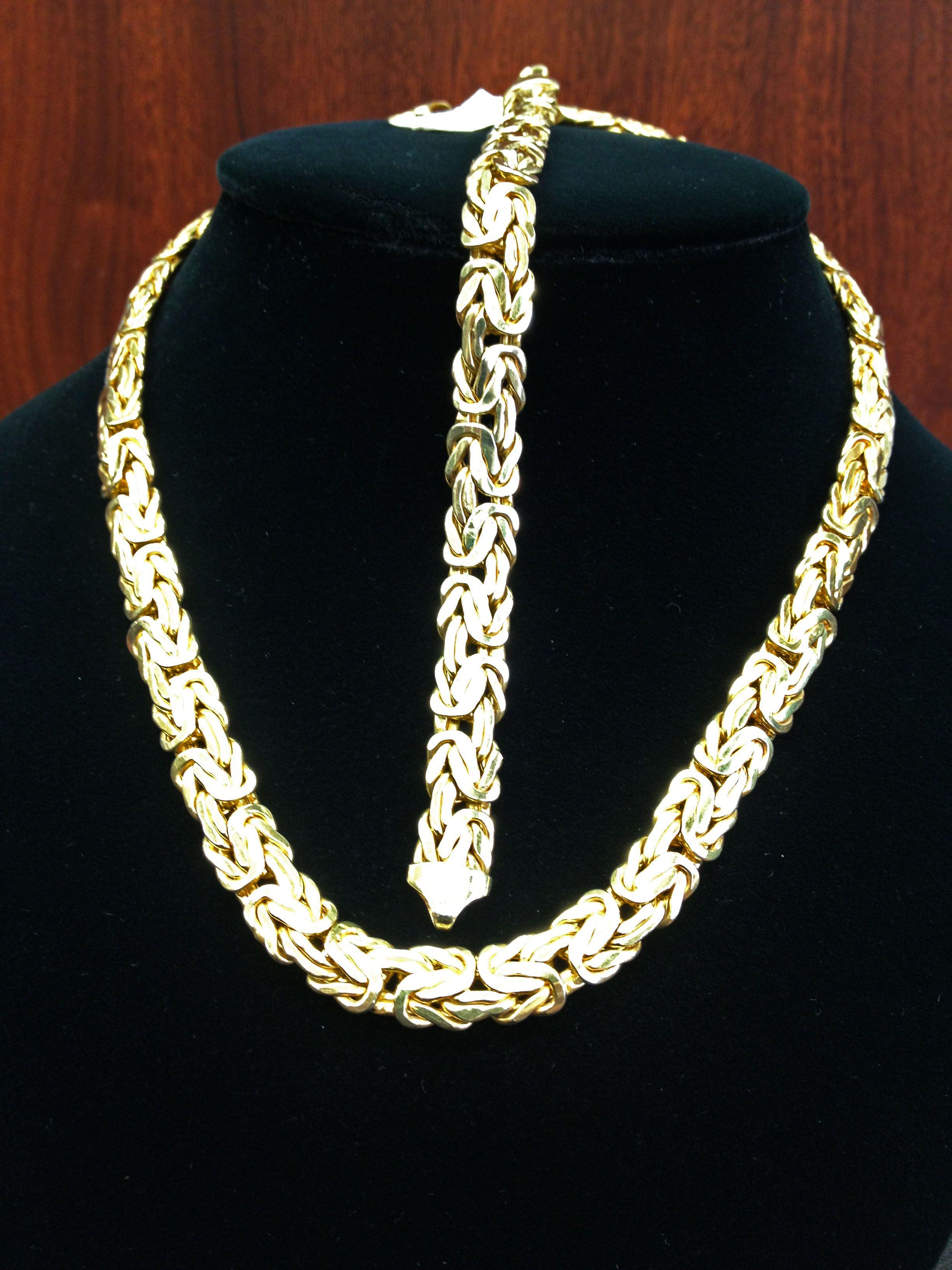 04c60fcfa1906 Solid 14k yellow gold Byzantine necklace and bracelet set available ...