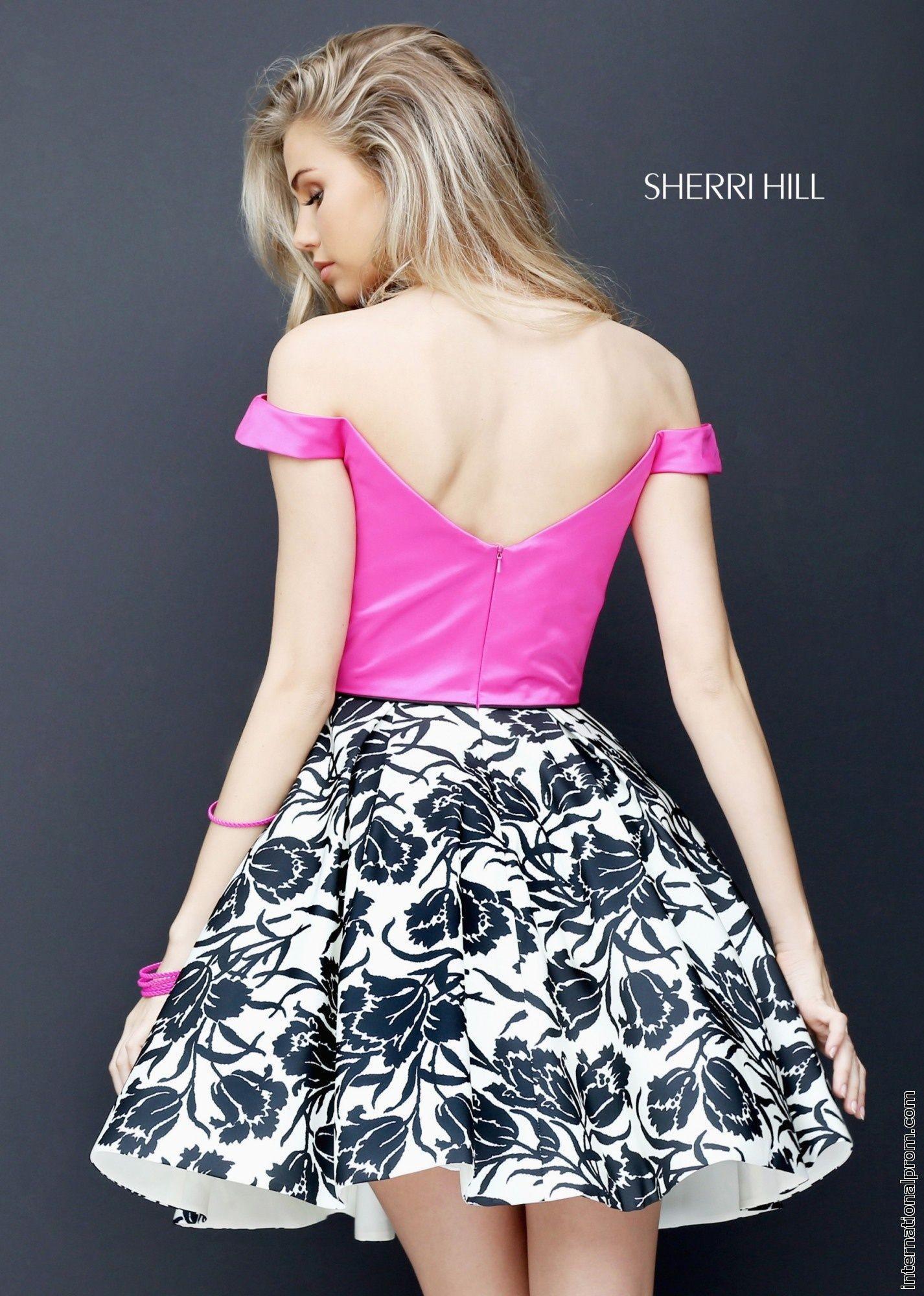 Fuchsia Sherri Hill 50545 Short Cap Sleeved A Line Prom Dress
