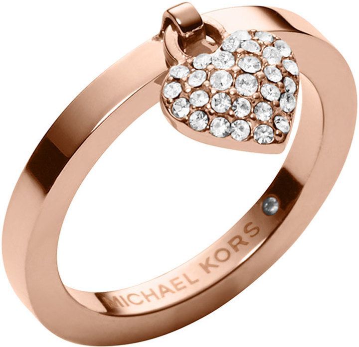 Michael Kors Rose Golden Pave Puffy Heart Charm Ring On Shopstyle