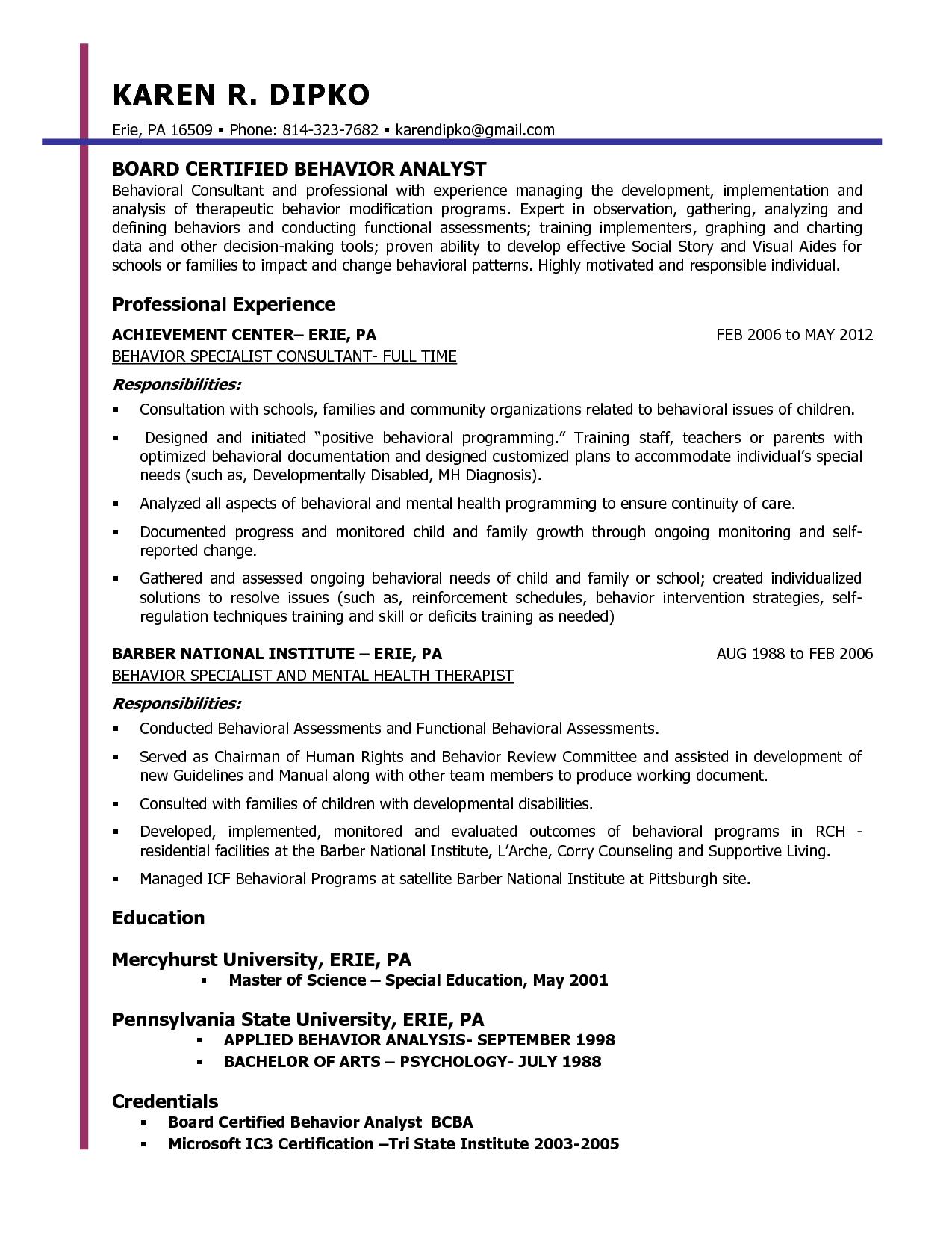 behavior specialist resume - Google Search | PRESCHOOL | Pinterest