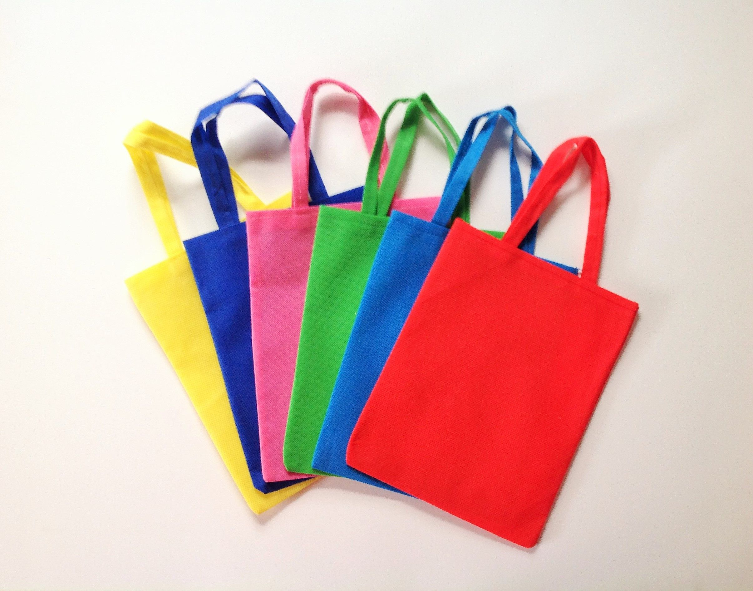 24 Pcs Small Party Bags 9 X7 Mini Tote Reusable Bag Favors Treat Candy Goo Plain Red Blue Green Yellow Rose By Miloscrafts On