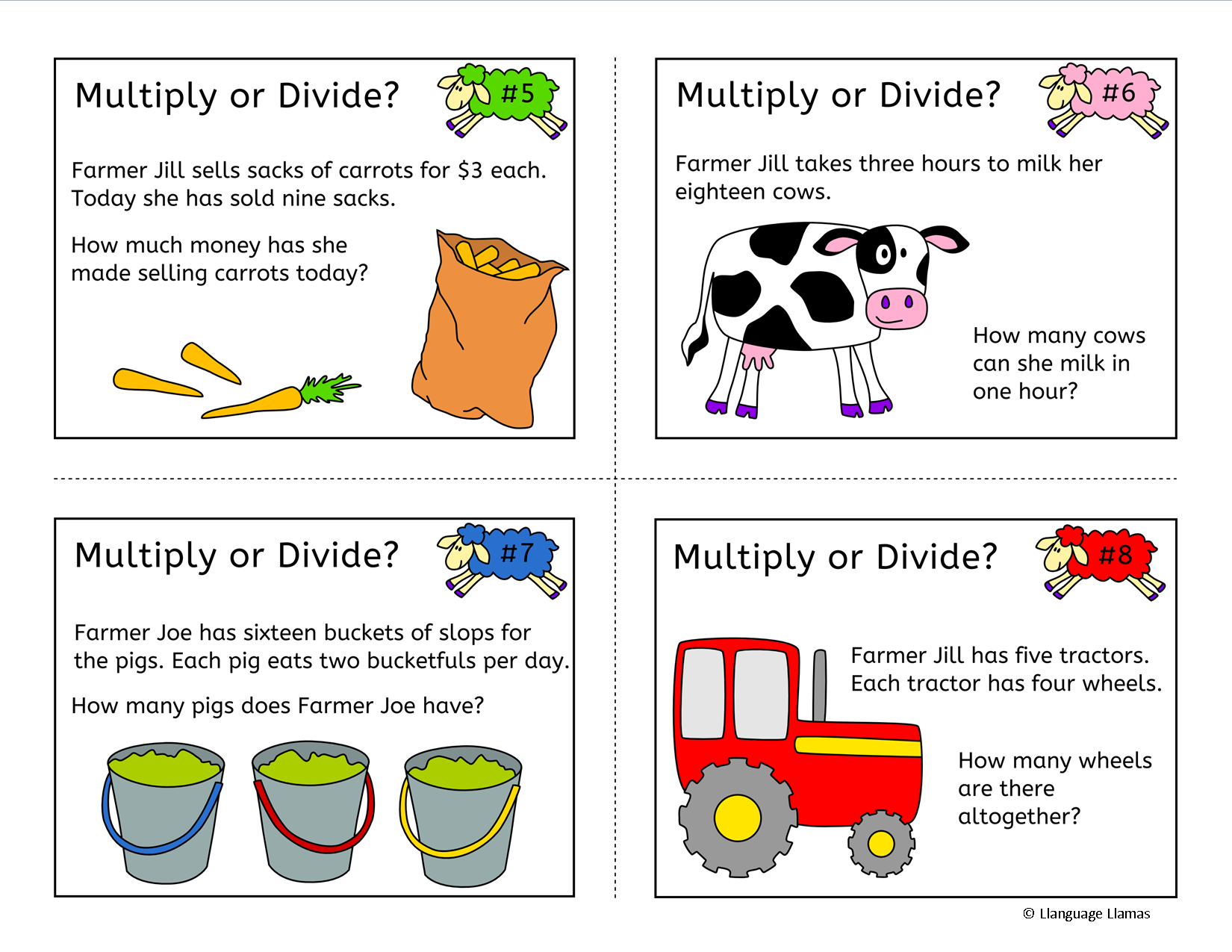 Multiplication Word Problems Grade 4 Worksheets