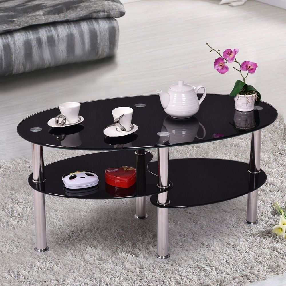 Elegant Oval Black Gl Coffee Table With Double Shelves And Irregularly Boards