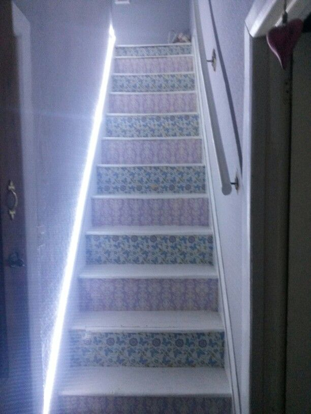 Lighting Basement Washroom Stairs: Decoupage Stairs With Cool LED Strip Light.