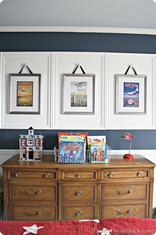 hanging art from knobs | Photo wall ideas | Pinterest