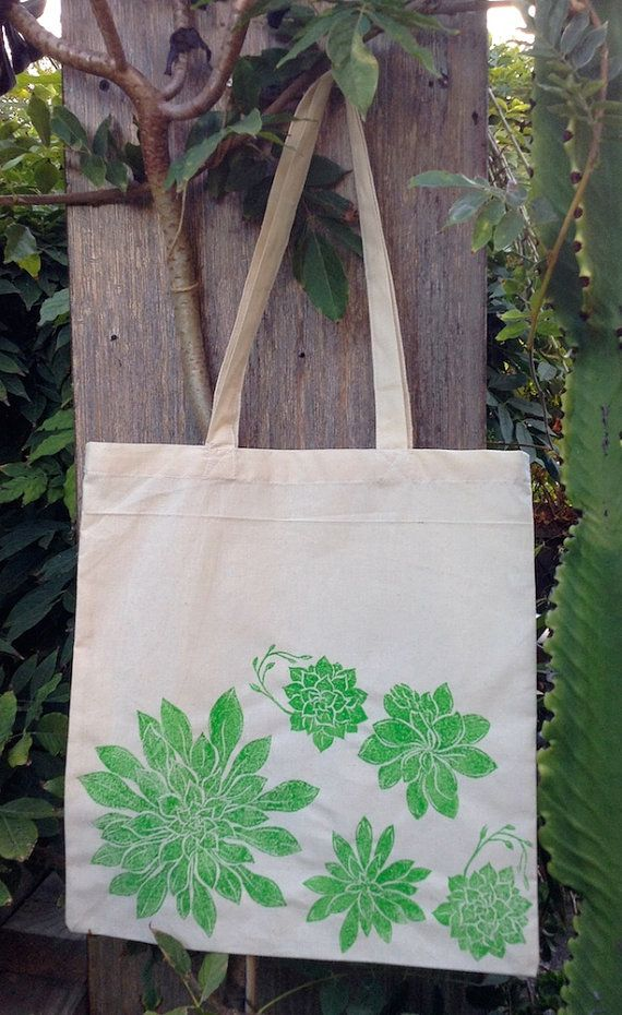 Succulents Tote Bag by Dishragstudio on Etsy