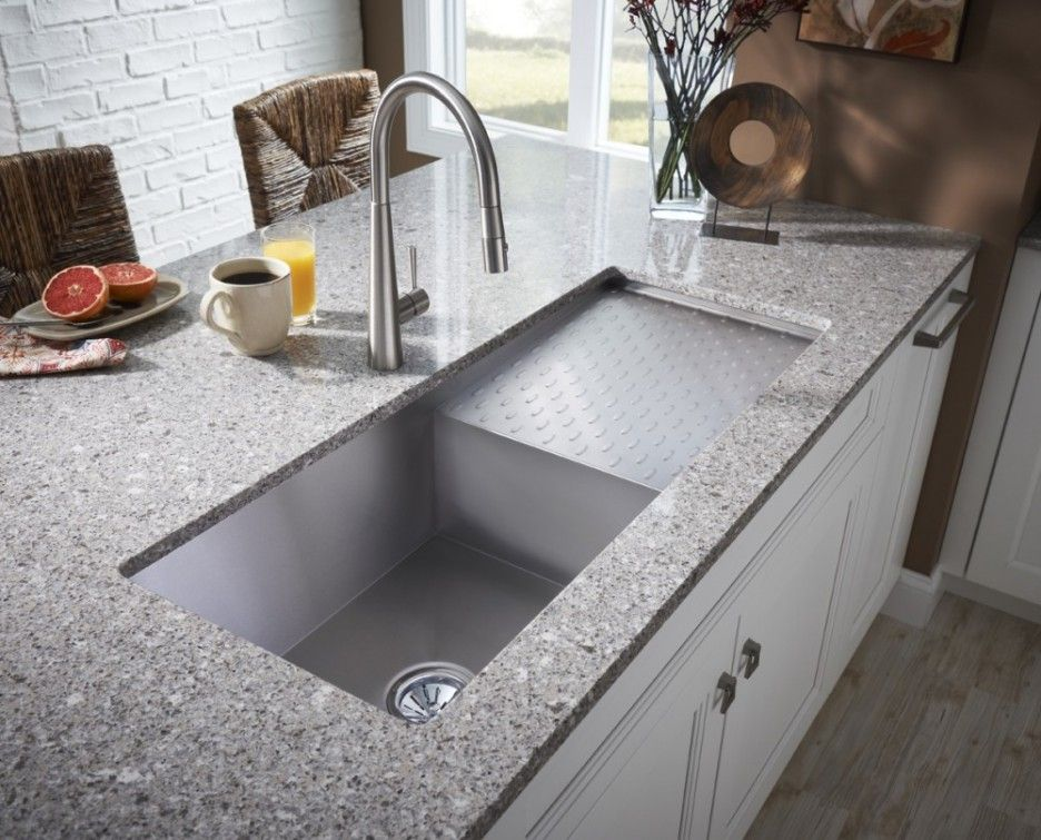 Stunning Design Ideas Of Modern Kitchen Sink Agreeable Rectangle Shape Undermount Come With Single Bowl And Drying Plat Plus Grey