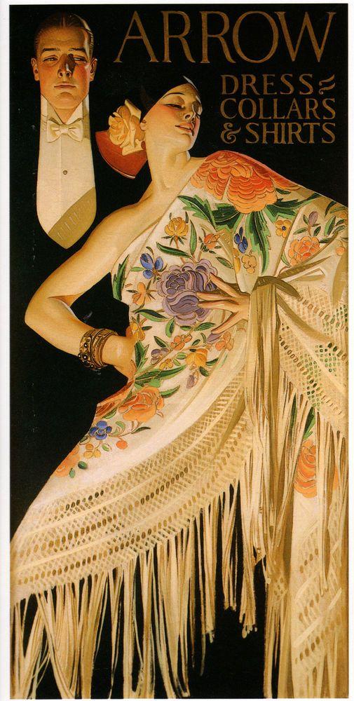 "1926 JC Leyendecker 20/""x10/"" Art ARROW COLLAR Advertisement Spanish Shawl"