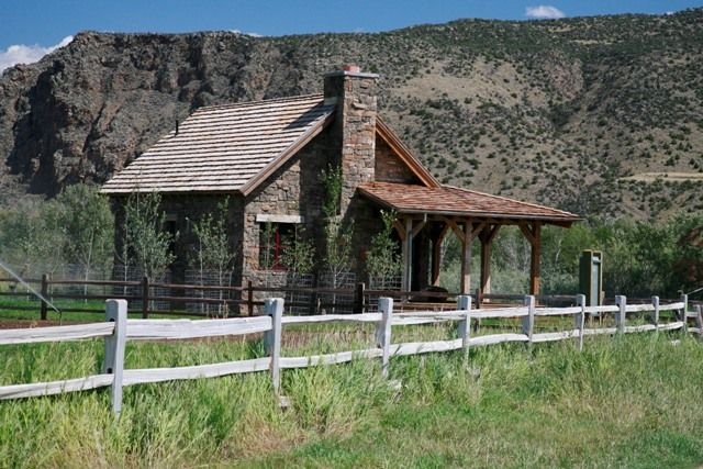 Tiny log guest cabin, Big Hole River Ranch, Montana