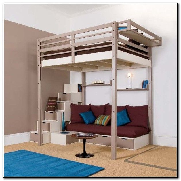full size loft beds with stairs beds home furniture. Black Bedroom Furniture Sets. Home Design Ideas
