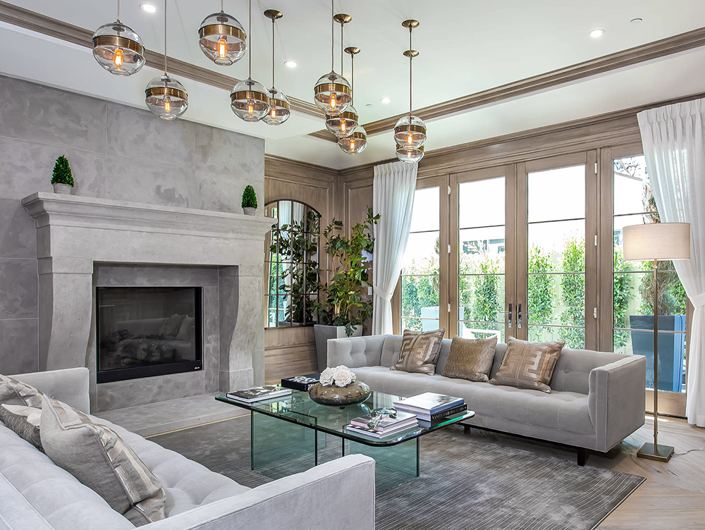 Beautiful Taupe Grey Transitional Living Room Decor With Grey Tufted Sofas Living Room Decor Fireplace Transitional Decor Living Room Transitional Living Rooms #taupe #and #grey #living #room
