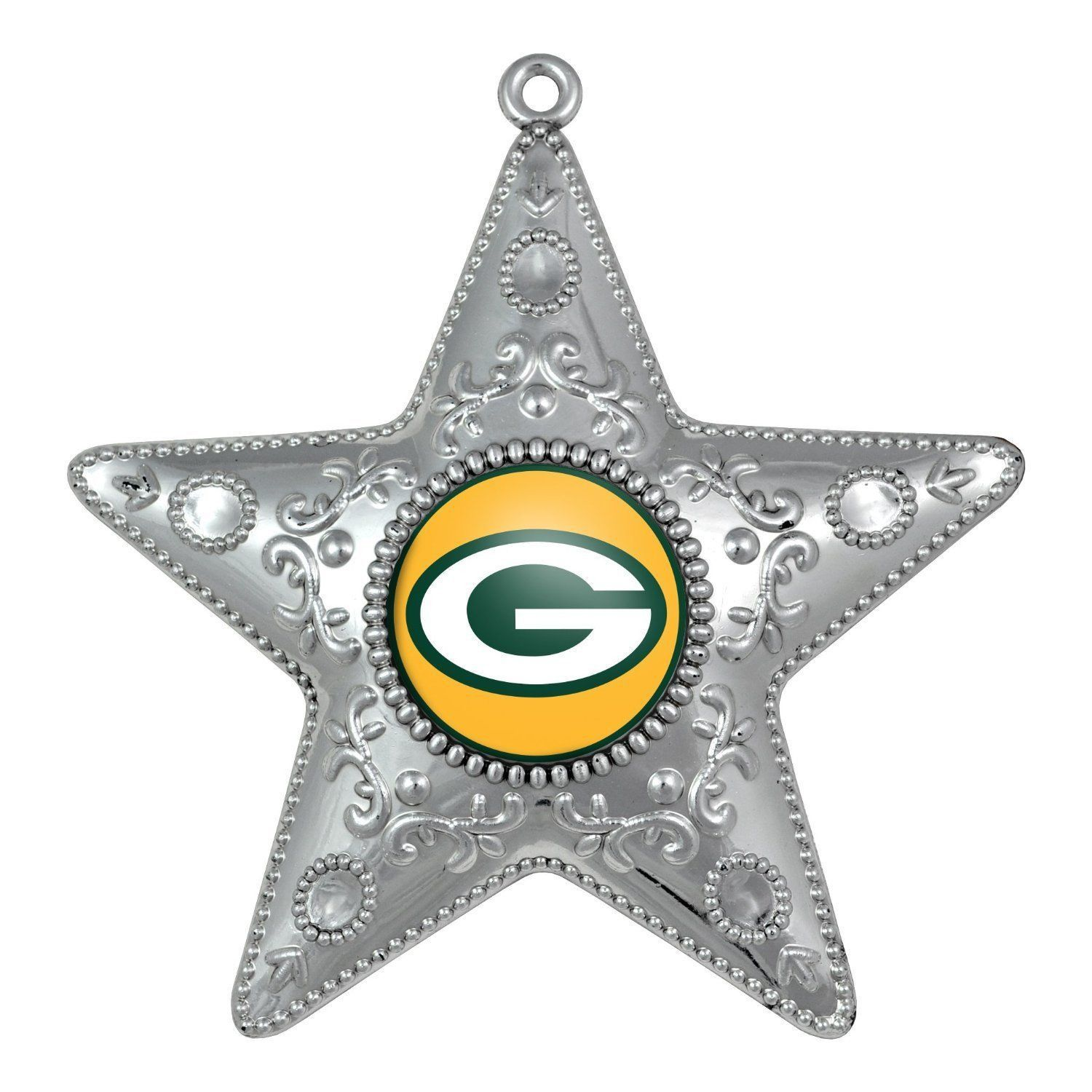 Green Bay Packers Silver Star Christmas Ornament
