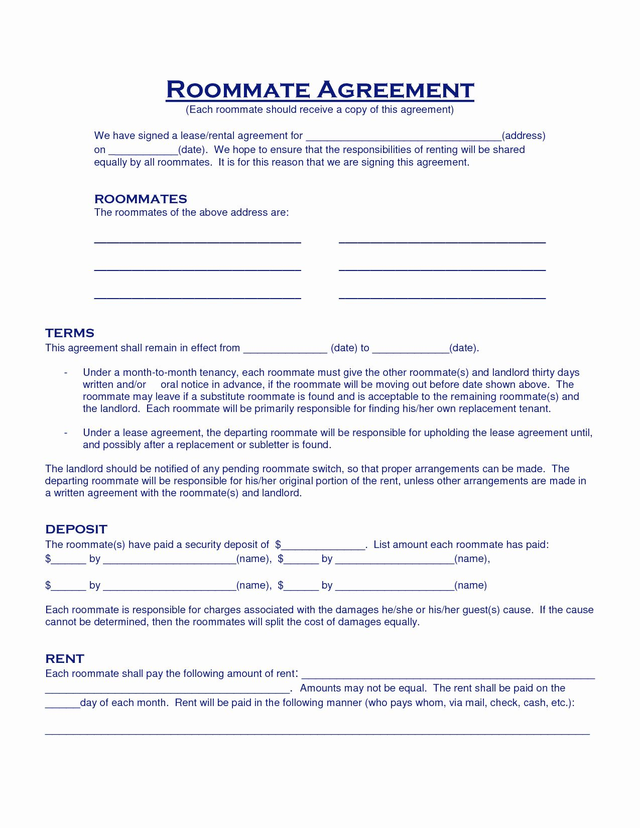 Roommate Rental Agreement Template Unique Roommate