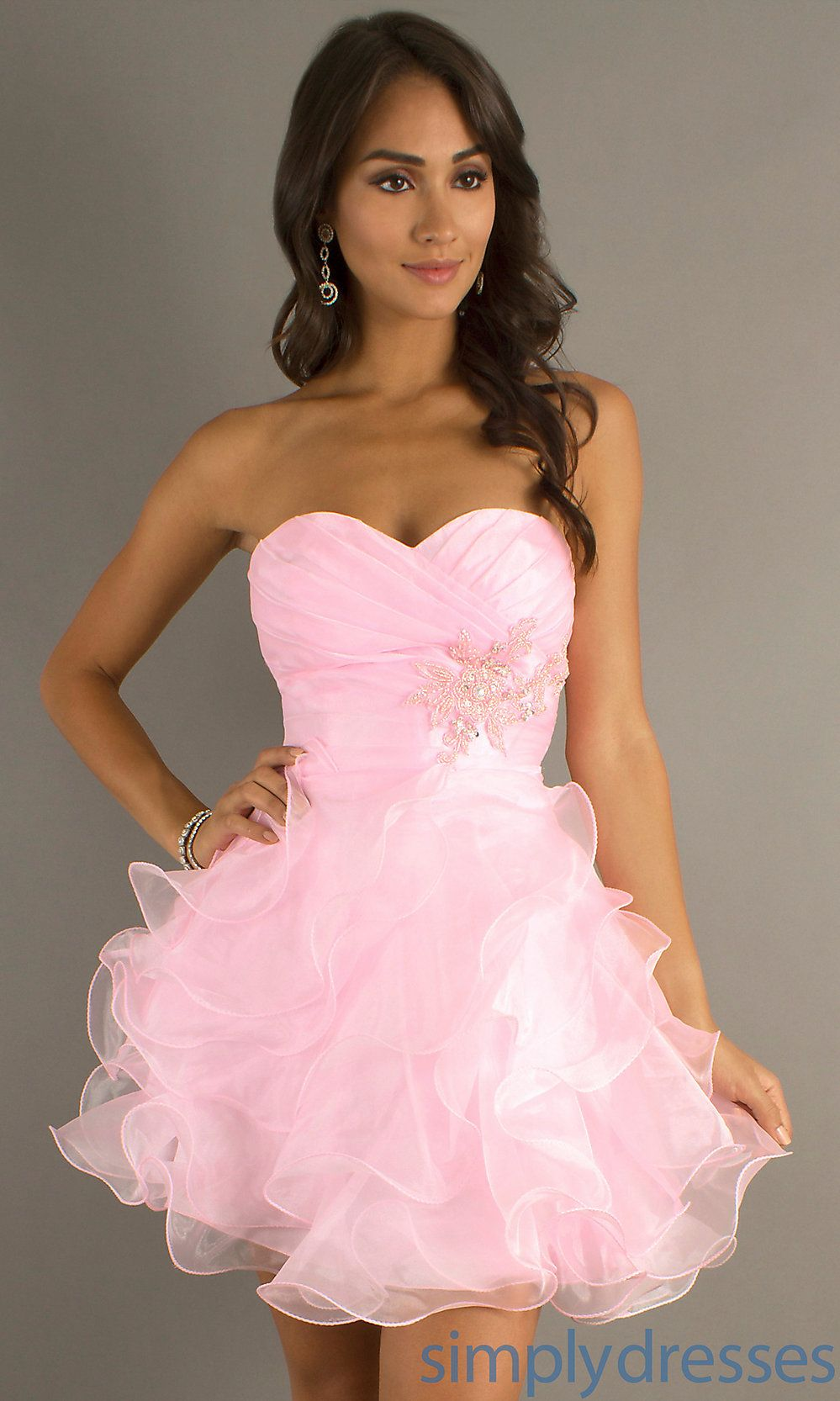 Pretty! Short Strapless Dresses, Pink Short Prom Dresses - Simply ...