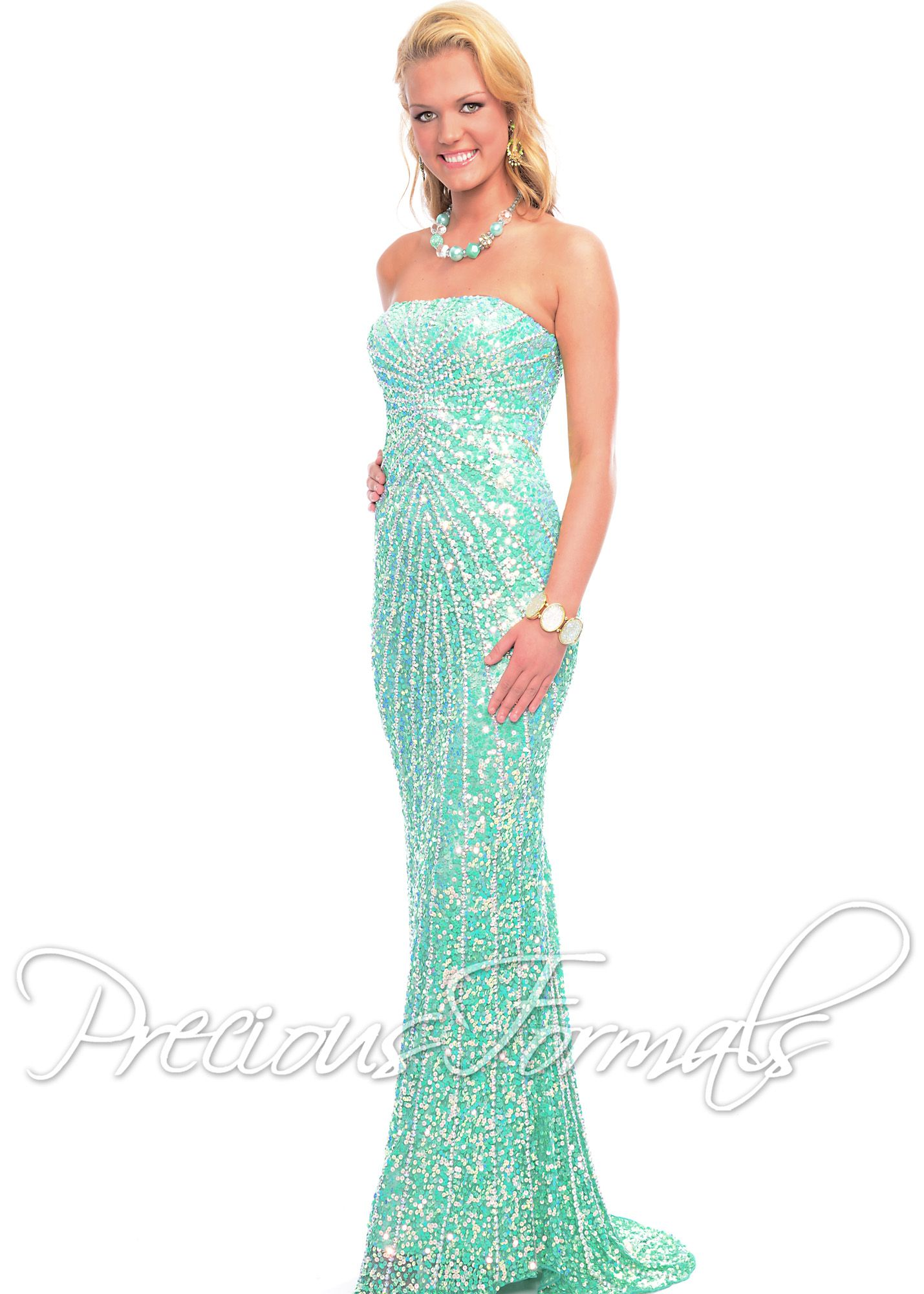 Precious Formals P8799 - Crystal Frosty Meadow Strapless Beaded ...
