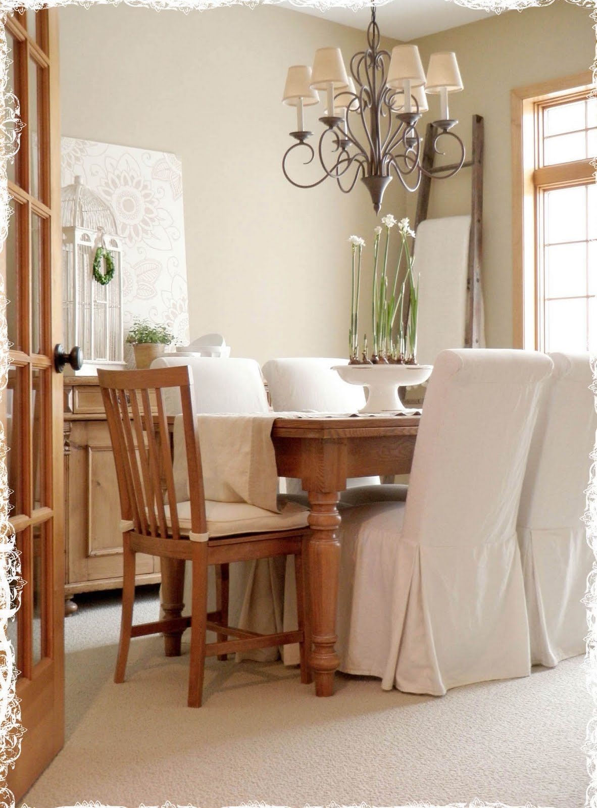 A Rosy Note | Dining room chair slipcovers, Dining room ...