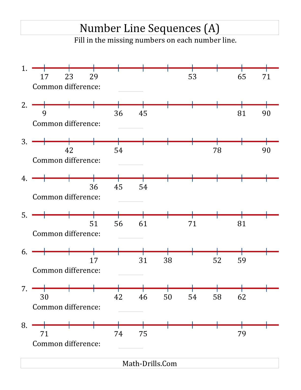 The Increasing Number Line Sequences With Missing Numbers Max 100 A Number Line Worksheet
