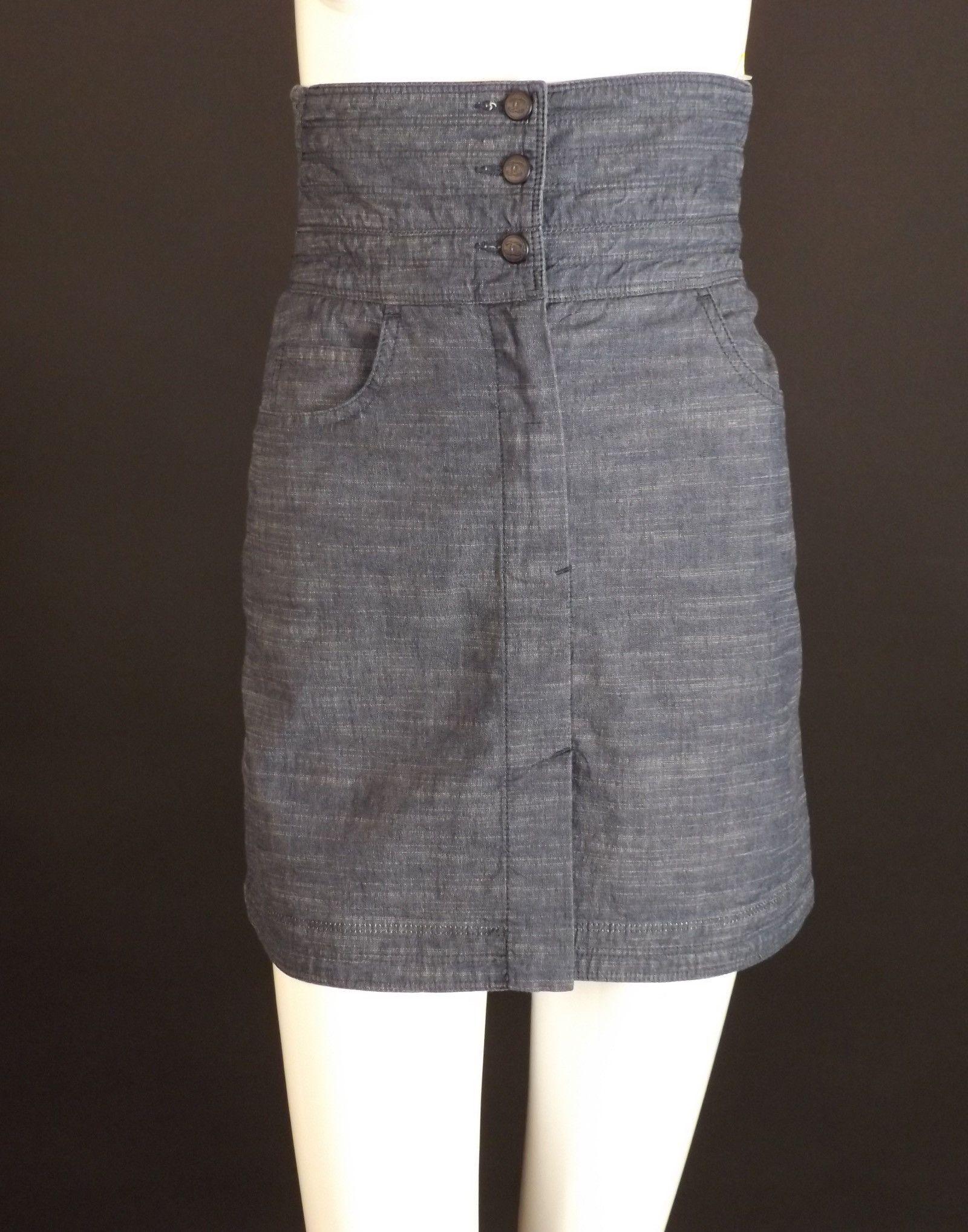 CHANEL-Blue Chambray A-Line Skirt, Waist-28