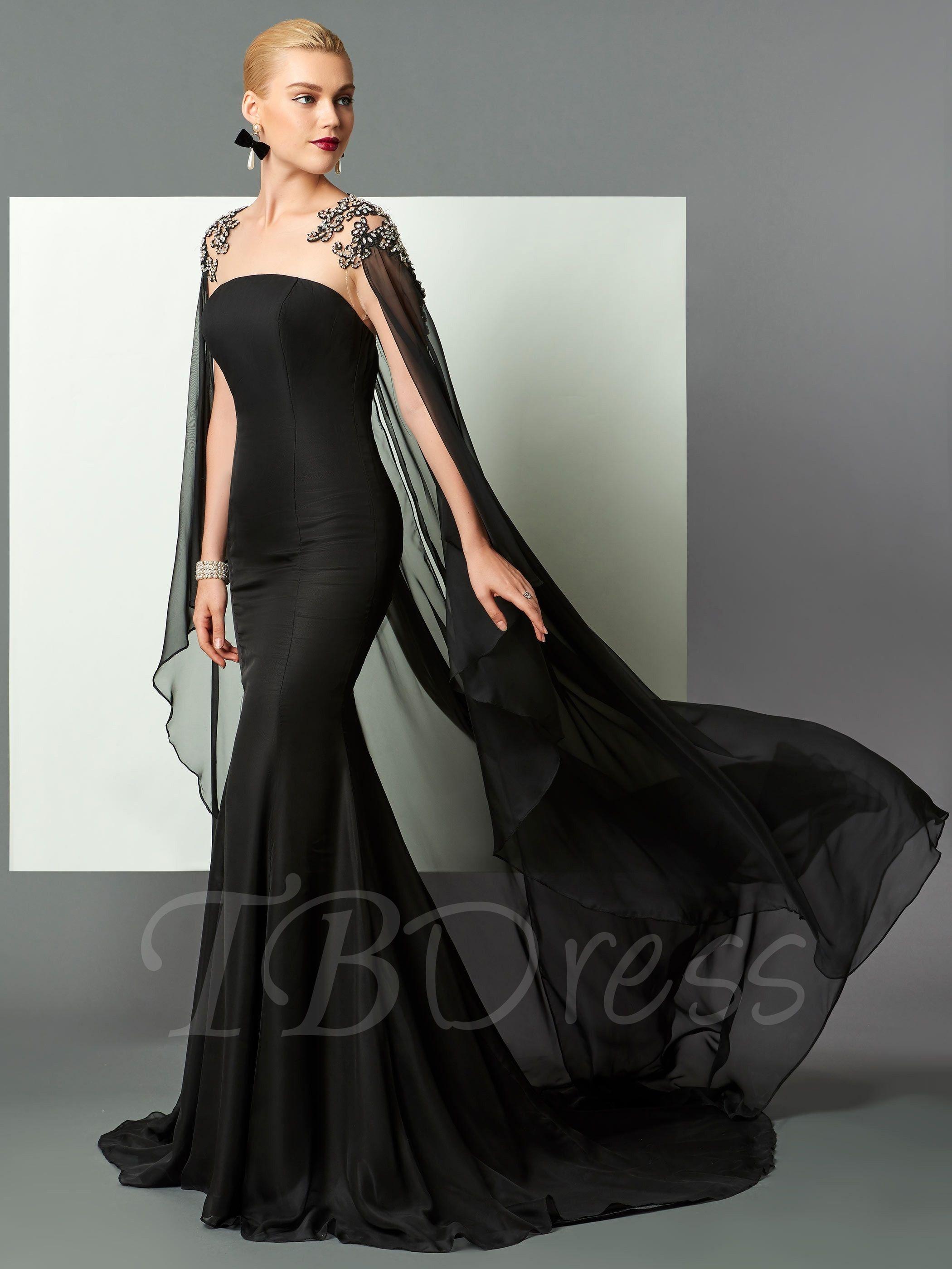 Scoop Mermaid Beading Lace Watteau Train Evening Dress Black Lace Evening Dress Train Evening Dress Evening Dress Patterns